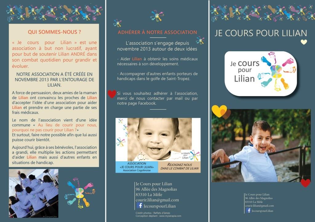 Flyer pour l'association Je Cours pour Lilian